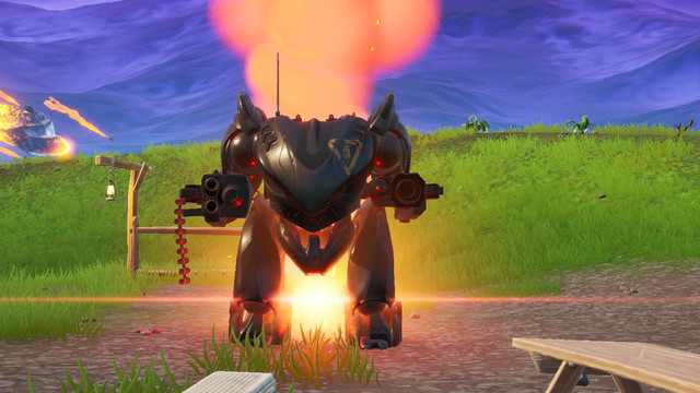 A Fortnite mech stands waiting for someone to get in it and ruin everyone else's game