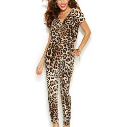 "Thalia Sodi Ruched-Ankle Leopard-Print Jumpsuit, <a href=""http://www1.macys.com/shop/product/thalia-sodi-ruched-ankle-leopard-print-jumpsuit?ID=1866755&CategoryID=69907#fn=sp%3D1%26spc%3D102%26ruleId%3D%26slotId%3D2"">$99.50</a>."