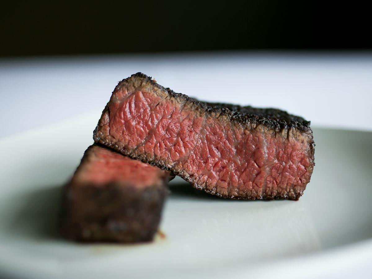 A view of a medium-rare cooked sirloin steak from John Howie Steak in Bellevue.