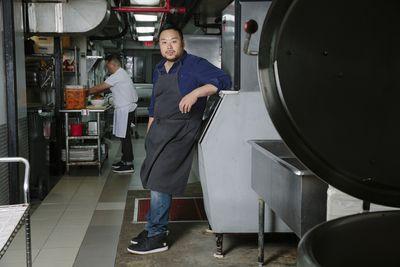 David Chang modeling his Nikes