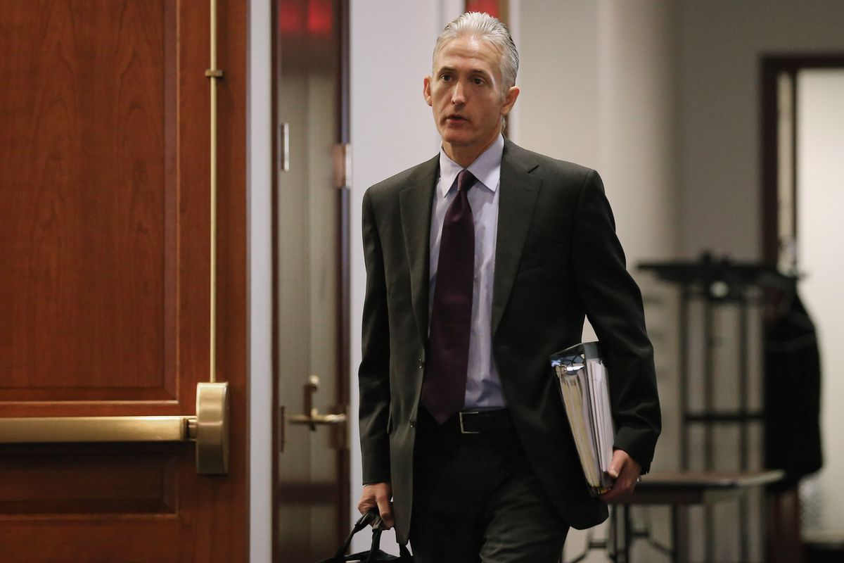 House Select Committee on Benghazi Chairman Trey Gowdy (R-SC) arrives for a closed door meeting in the House Visitors Center at the US Capitol June 16, 2015, in Washington, DC.
