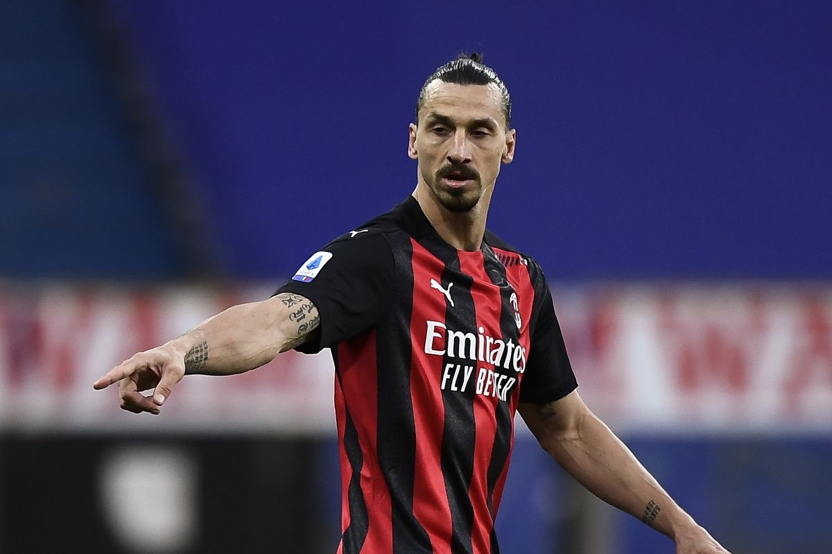 Zlatan Ibrahimovic of AC Milan gestures during the Serie A...