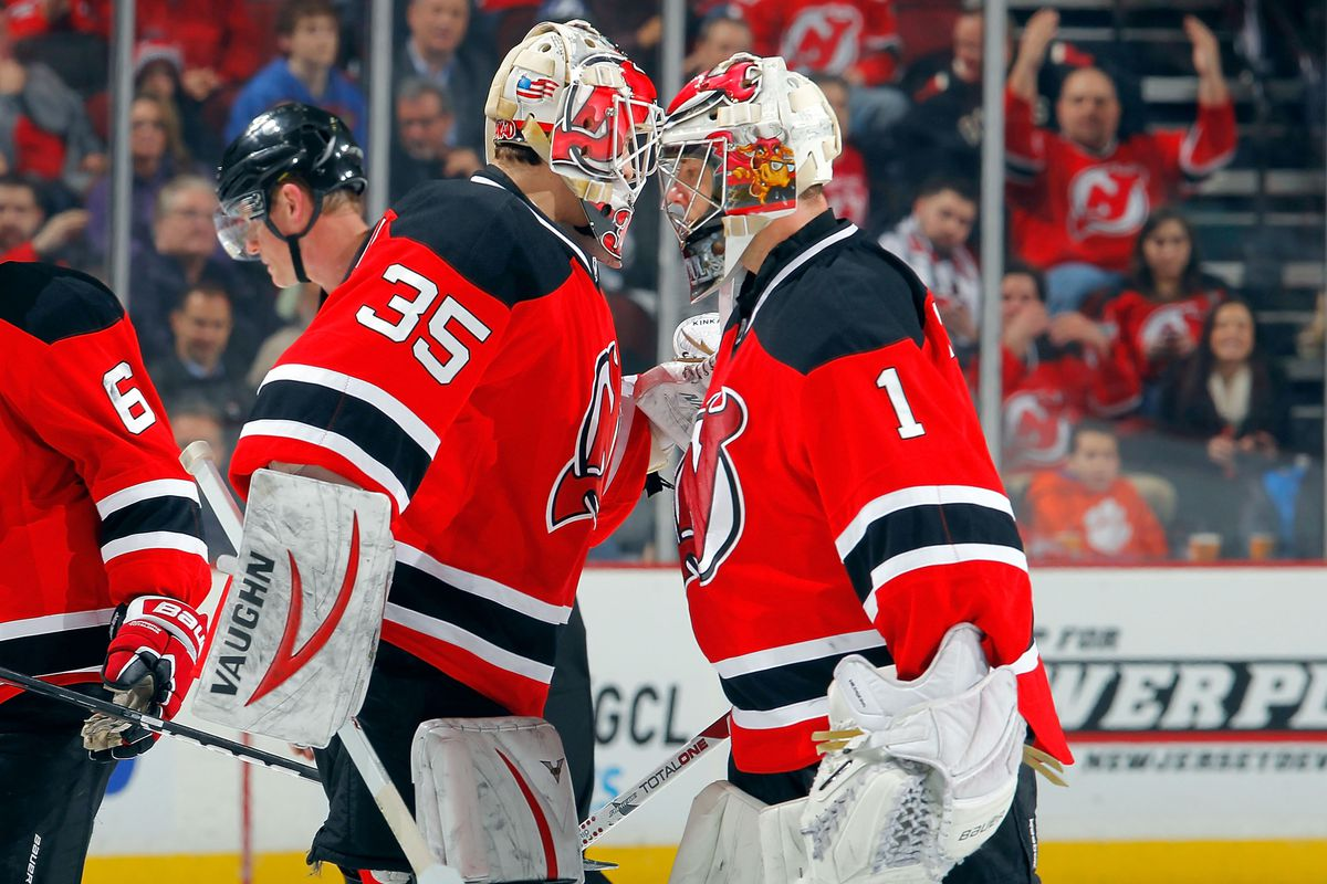 Keith Kinkaid getting his first taste of an NHL game.
