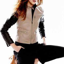 Alexander Wang Zip-Up Leather Moto Jacket, Truffle, $1,650