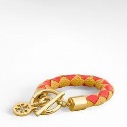 "<a href=""http://www.toryburch.com/WOVEN-ROPE-BRACELET/51115905,default,pd.html?dwvar_51115905_size=OS&dwvar_51115905_color=668&start=84&cgid=sale"">Woven rope bracelet</a>, $66.50 ($95)"
