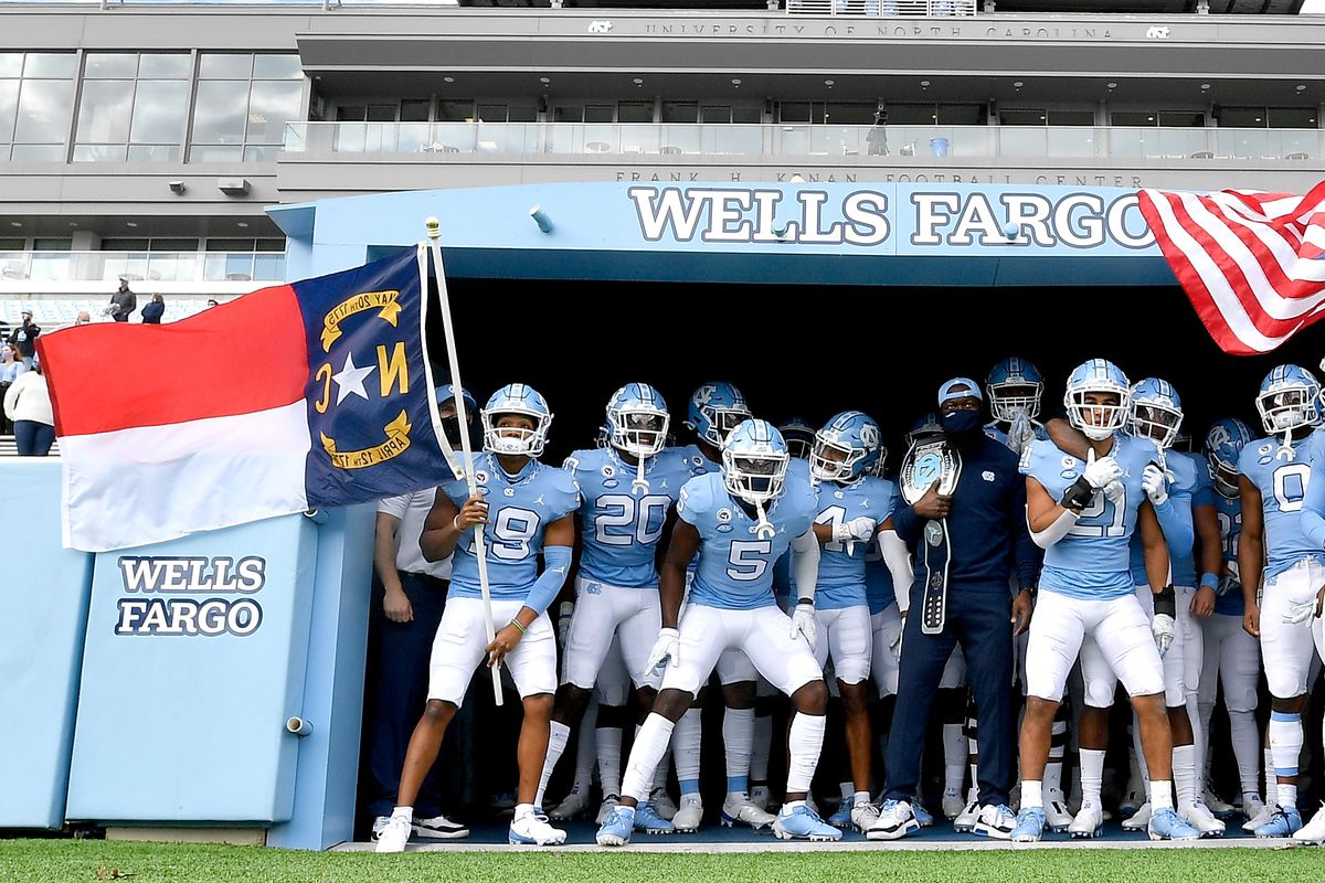 The North Carolina Tar Heels wait to take the field for their game against the Western Carolina Catamounts at Kenan Stadium on December 05, 2020 in Chapel Hill, North Carolina. The Tar Heels won 49-9.