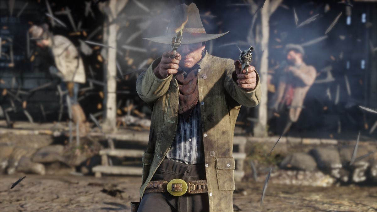 Red Dead Redemption 2 - Arthur Morgan firing two revolvers