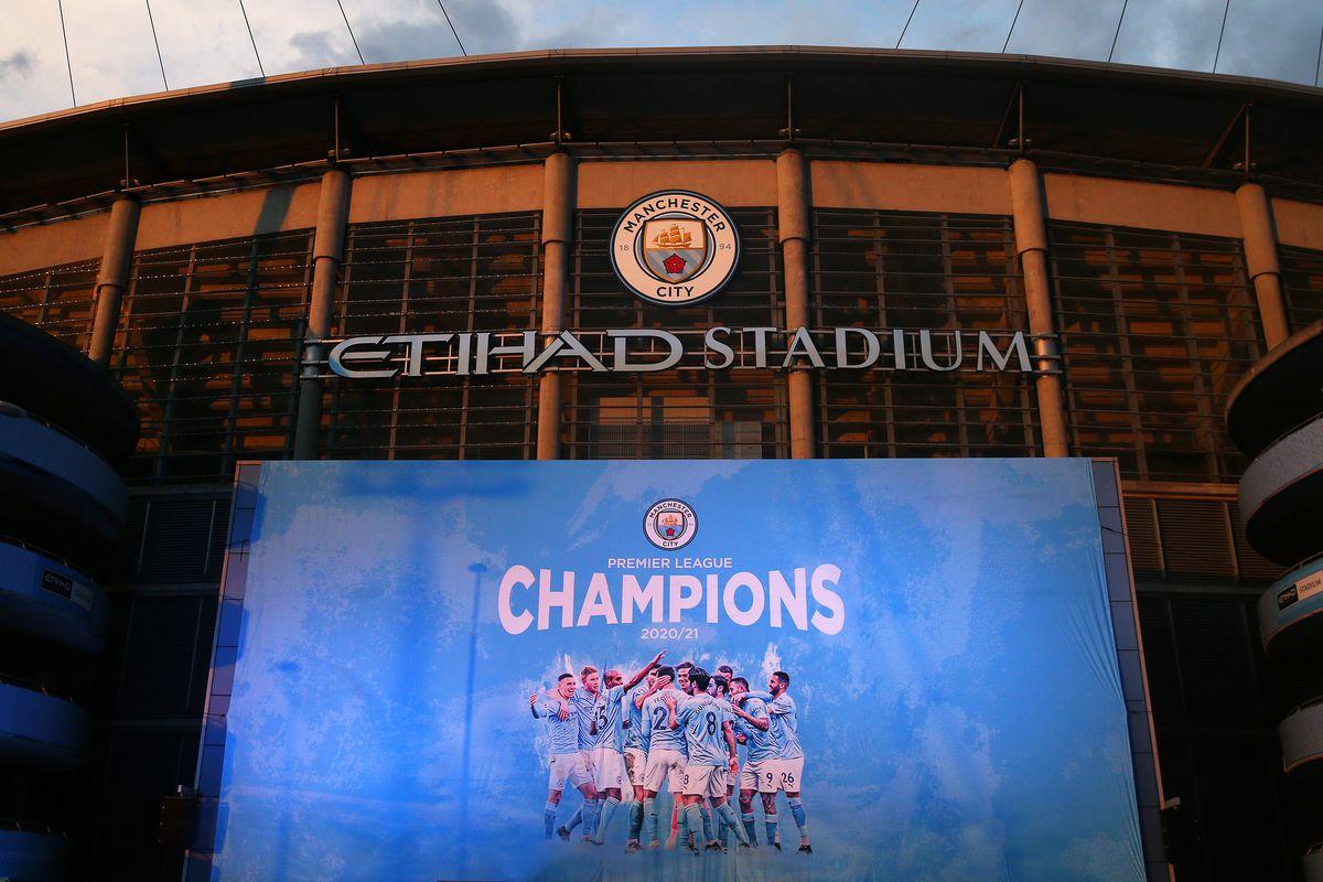 Champions banner is seen outside Etihad Stadium - Manchester City - Premier League