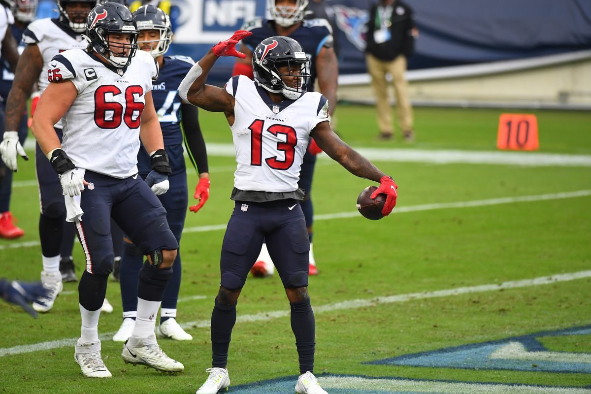 Houston Texans wide receiver Brandin Cooks (13) celebrates after catching a touchdown pass during the second half against the Tennessee Titans at Nissan Stadium.