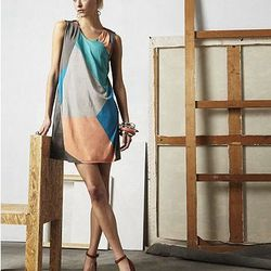 Geometric Printed A-Line Dress with Faux Leather Back, $65.00