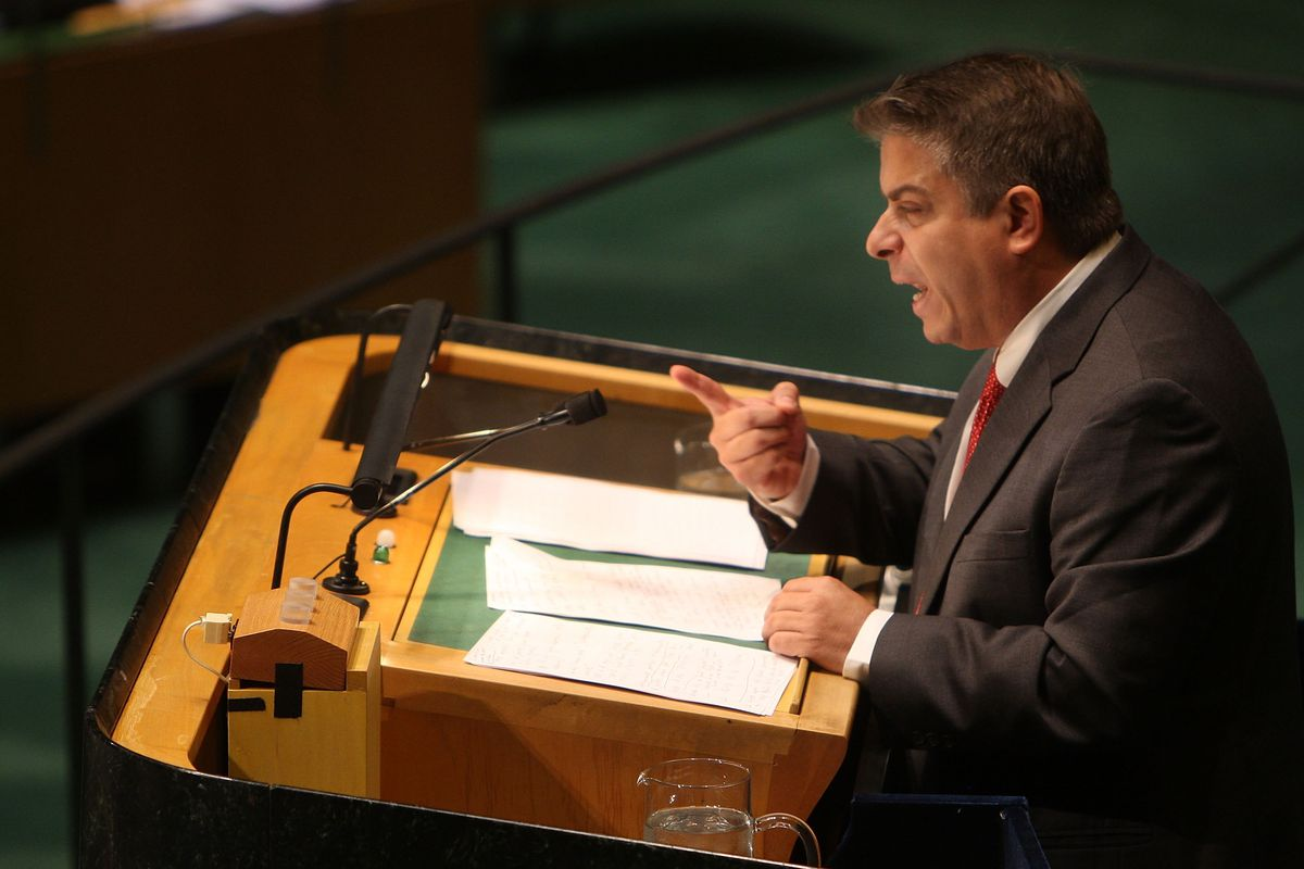 Cuban diplomat Felipe Perez Roque, then Cuba's Foreign minister, introduces a resolution condemning the US embargo at the UN in 2008. (Spencer Platt/Getty Images)