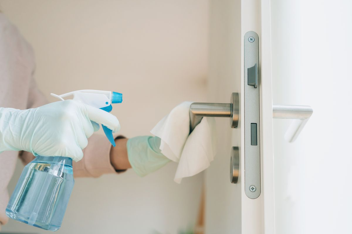 Cleaning a door handle