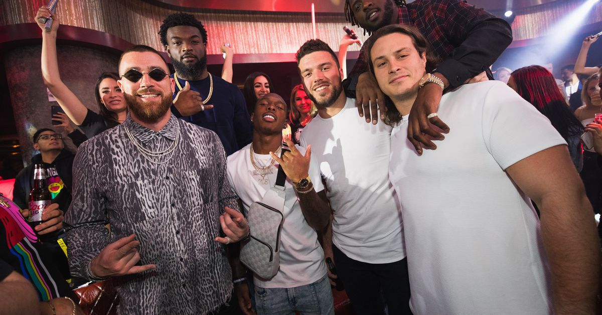 Patrick Mahomes, Travis Kelce, and the Kansas City Chiefs Celebrate Their Super Bowl Win in Las Vegas