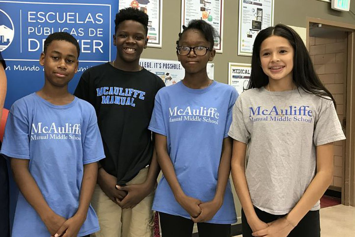 McAuliffe Manual Middle School students at a press conference about test scores in August 2017. The school has signaled its intent to be part of a new innovation zone.