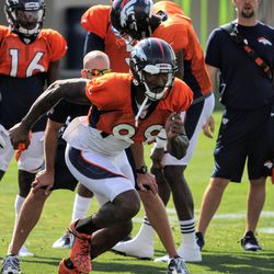 Broncos WR Demaryius Thomas gets off the ball during drills.