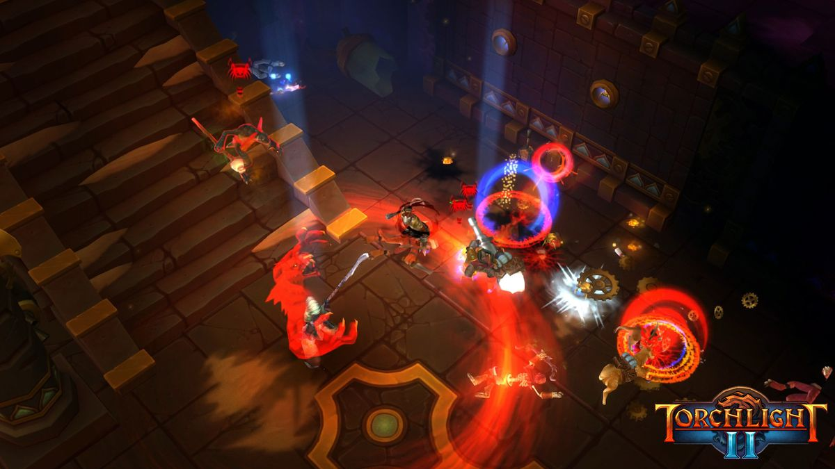 Deep in a dungeon in Torchlight 2 on Switch