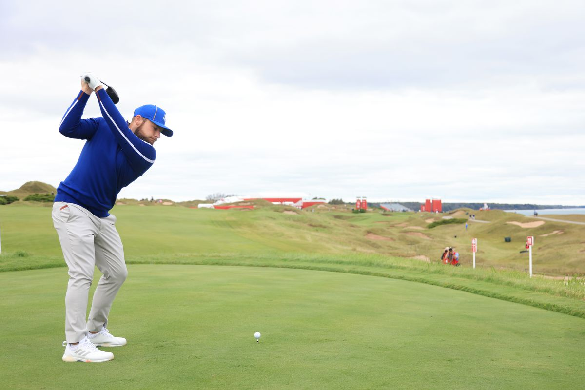 Tyrrell Hatton of England and team Europe plays his shot from the 11th tee prior to the 43rd Ryder Cup at Whistling Straits on September 21, 2021 in Kohler, Wisconsin.