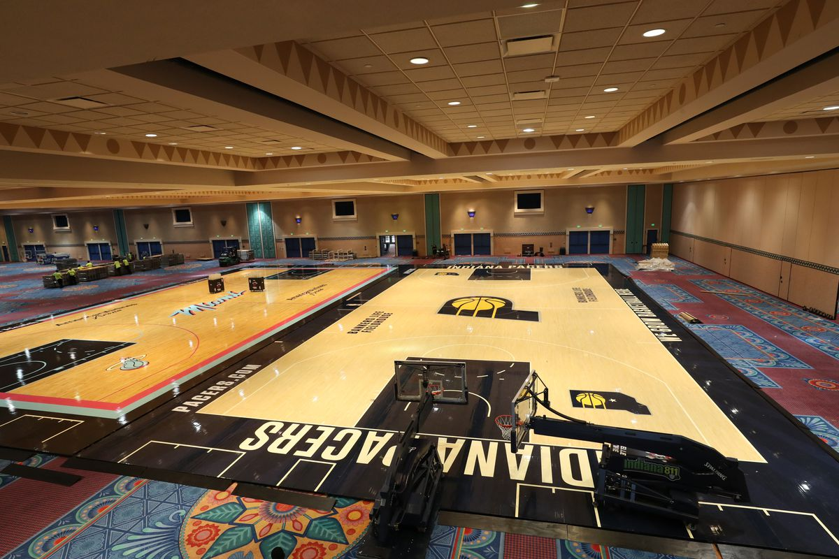 A general overall view of the installation of the practice courts as part of the NBA Restart 2020 on July 1, 2020 in Orlando, Florida.