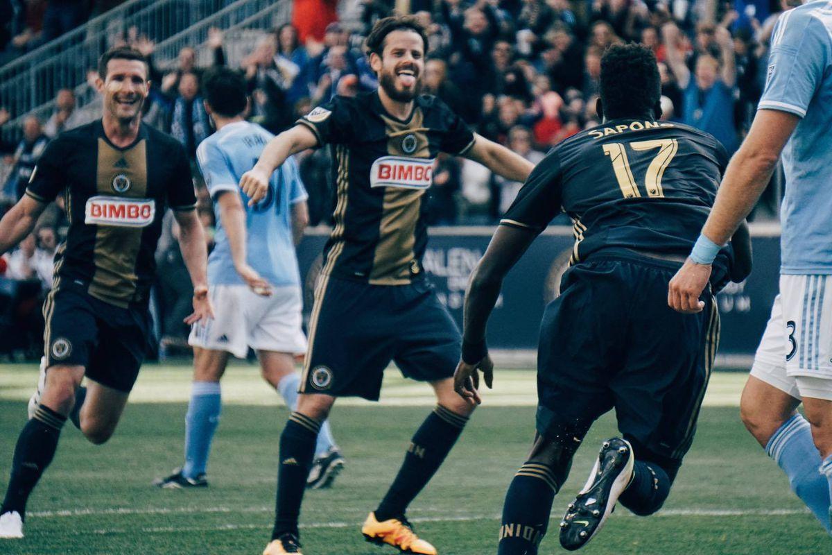 Tranquillo Barnetta celebrates CJ Sapong's goal as the Philadelphia Union defeated New York City FC 2-0.