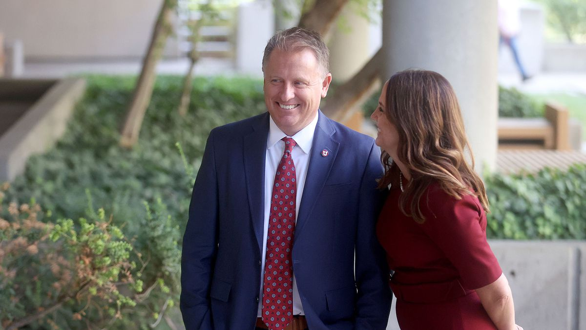 University of Utah President Taylor Randall and his wife, Janet, laugh during a photoshoot for the University of Utah outside of the Park Building in Salt Lake City on Friday, Aug. 20, 2021.