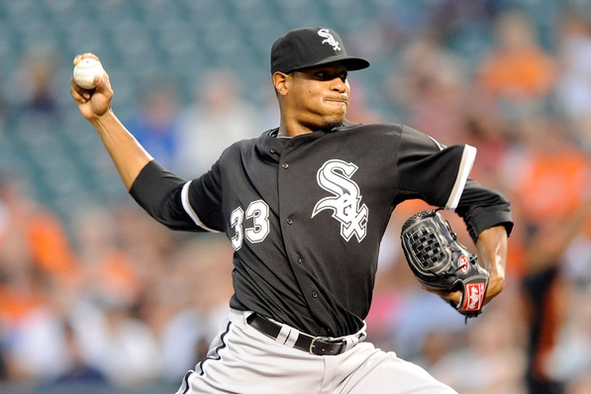 BALTIMORE - AUGUST 09:  Edwin Jackson #33 of the Chicago White Sox pitches against the Baltimore Orioles at Camden Yards on August 9 2010 in Baltimore Maryland.  (Photo by Greg Fiume/Getty Images)