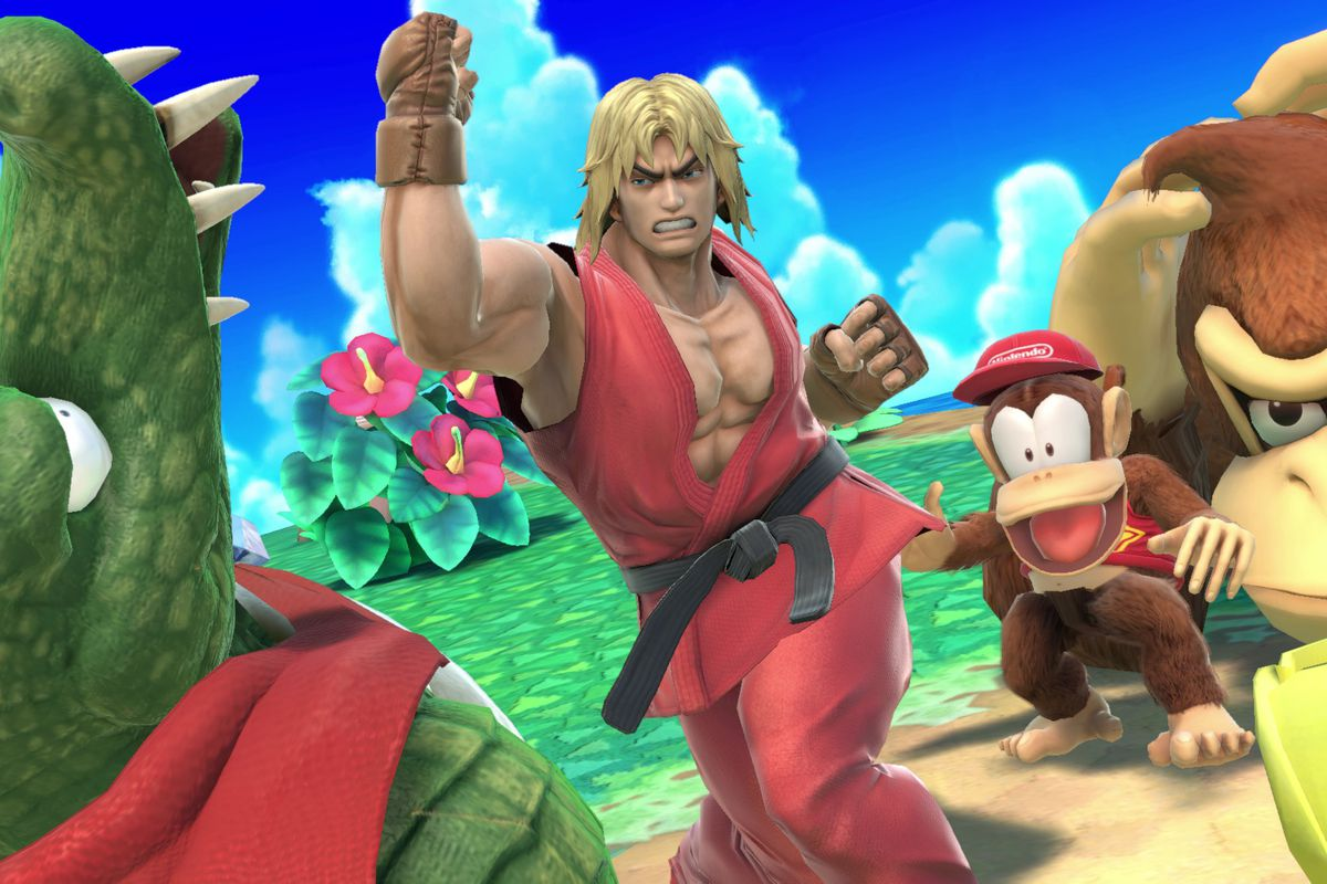 Ken from Street Fighter uppercuts King K. Rool in a screenshot from Super Smash Bros. Ultimate.