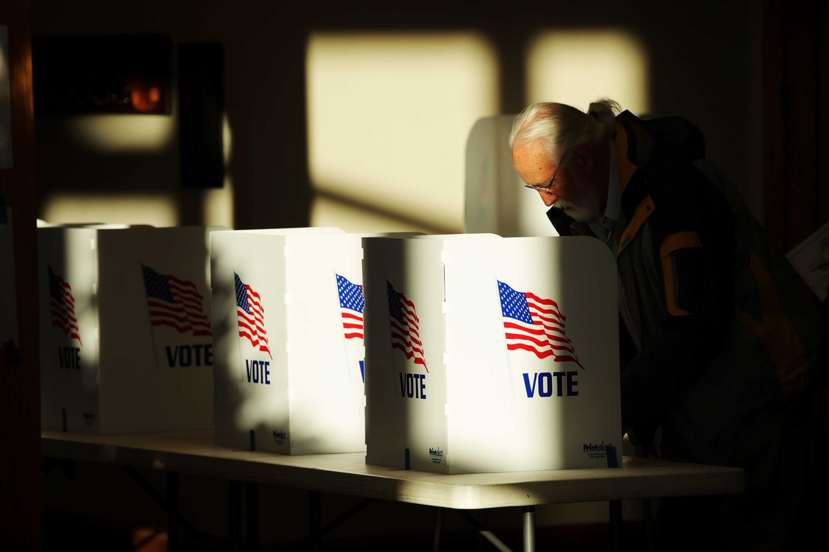 A shadowed voter at a booth.