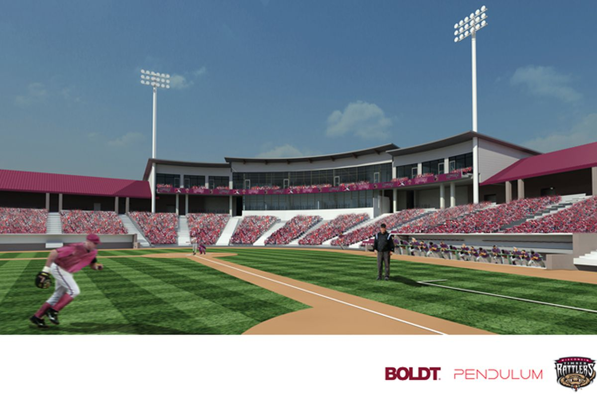 An artist rendering of the renovation plans for Time Warner Cable Field at Fox Cities Stadium, scheduled to be completed this winter.