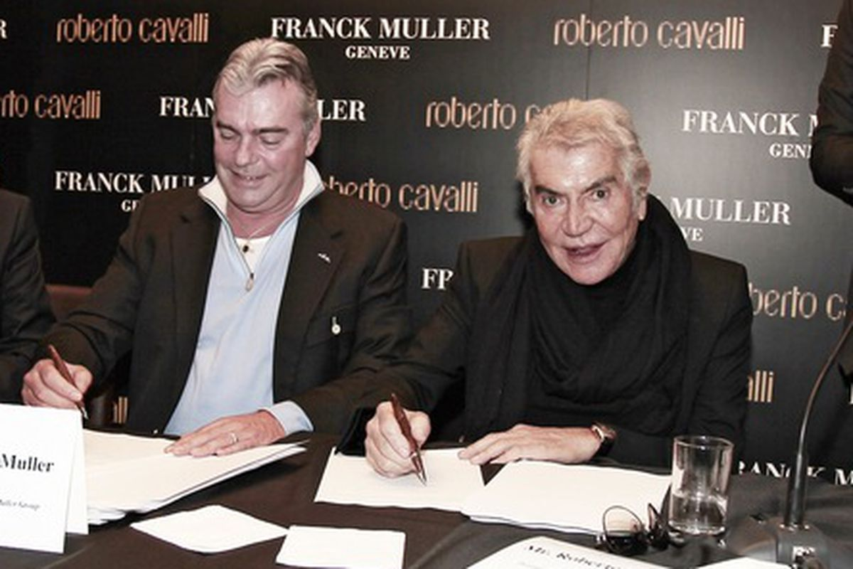 Taking time away from blogging, Roberto Cavalli meets with  Swiss watchmaker Franck Muller