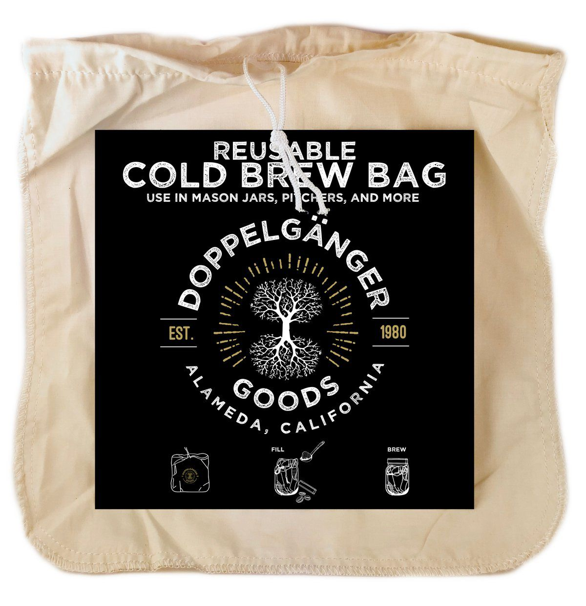 Organic cotton cold brew filter bag
