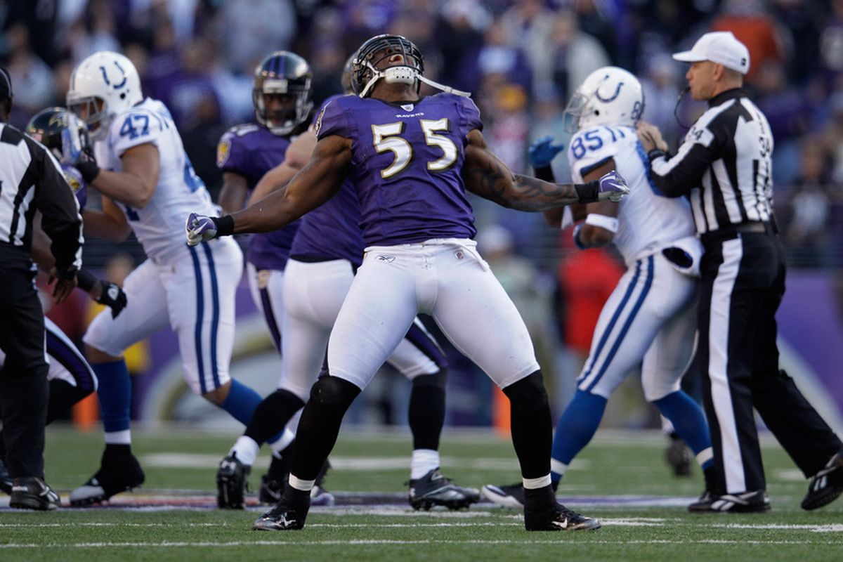 BALTIMORE, MD - DECEMBER 11:  Terrell Suggs #55 of the Baltimore Ravens celebrates a sack against the Indianapolis Colts during the first half at M&T Bank Stadium on December 11, 2011 in Baltimore, Maryland.  (Photo by Rob Carr/Getty Images)