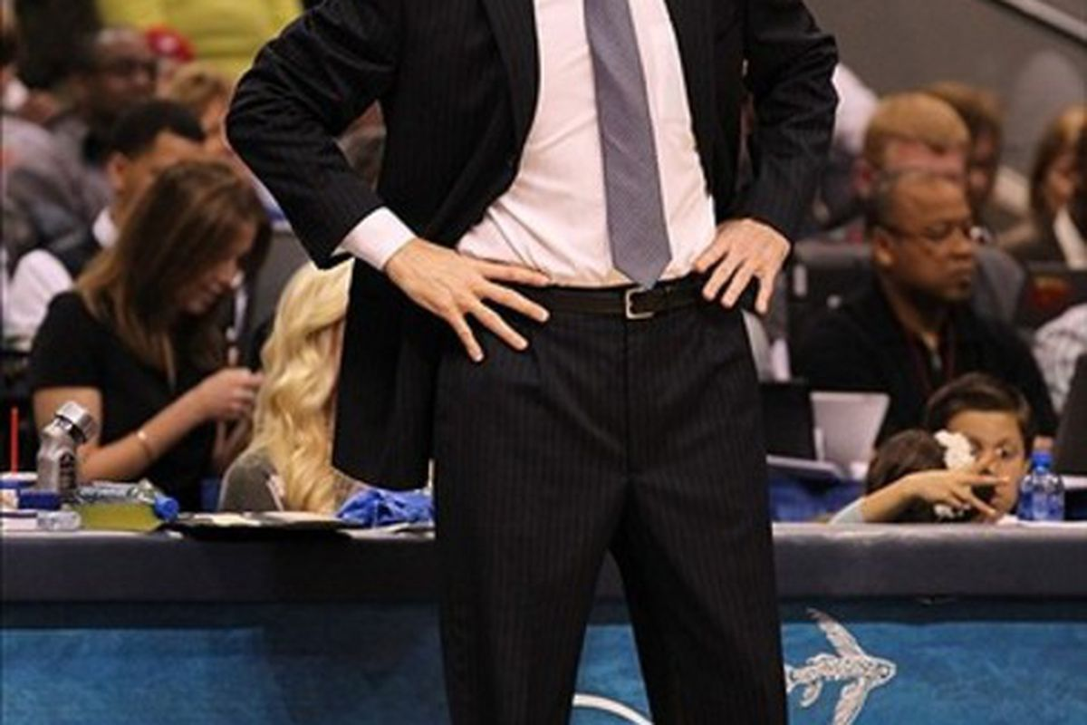Feb 28, 2012; Dallas, TX, USA; Dallas Mavericks head coach Rick Carlisle on the sidelines during the game against New Jersey Nets at American Airlines Center.  Mandatory Credit: Matthew Emmons-US PRESSWIRE