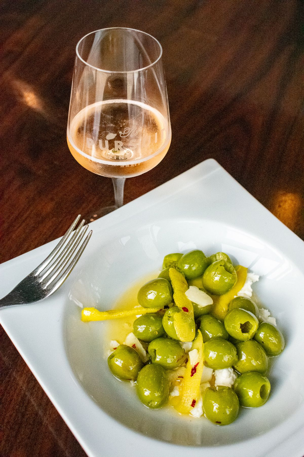 Olives and wine at Pursuit