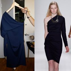 Draped One-Shoulder Dress in Navy, $328
