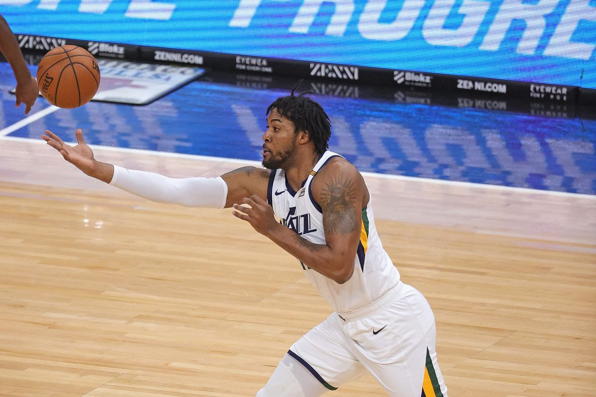 Derrick Favors #15 of the Utah Jazz snares a rebound against the Chicago Bulls at the United Center on March 22, 2021 in Chicago, Illinois. The Jazz defeated the Bulls 120-94.