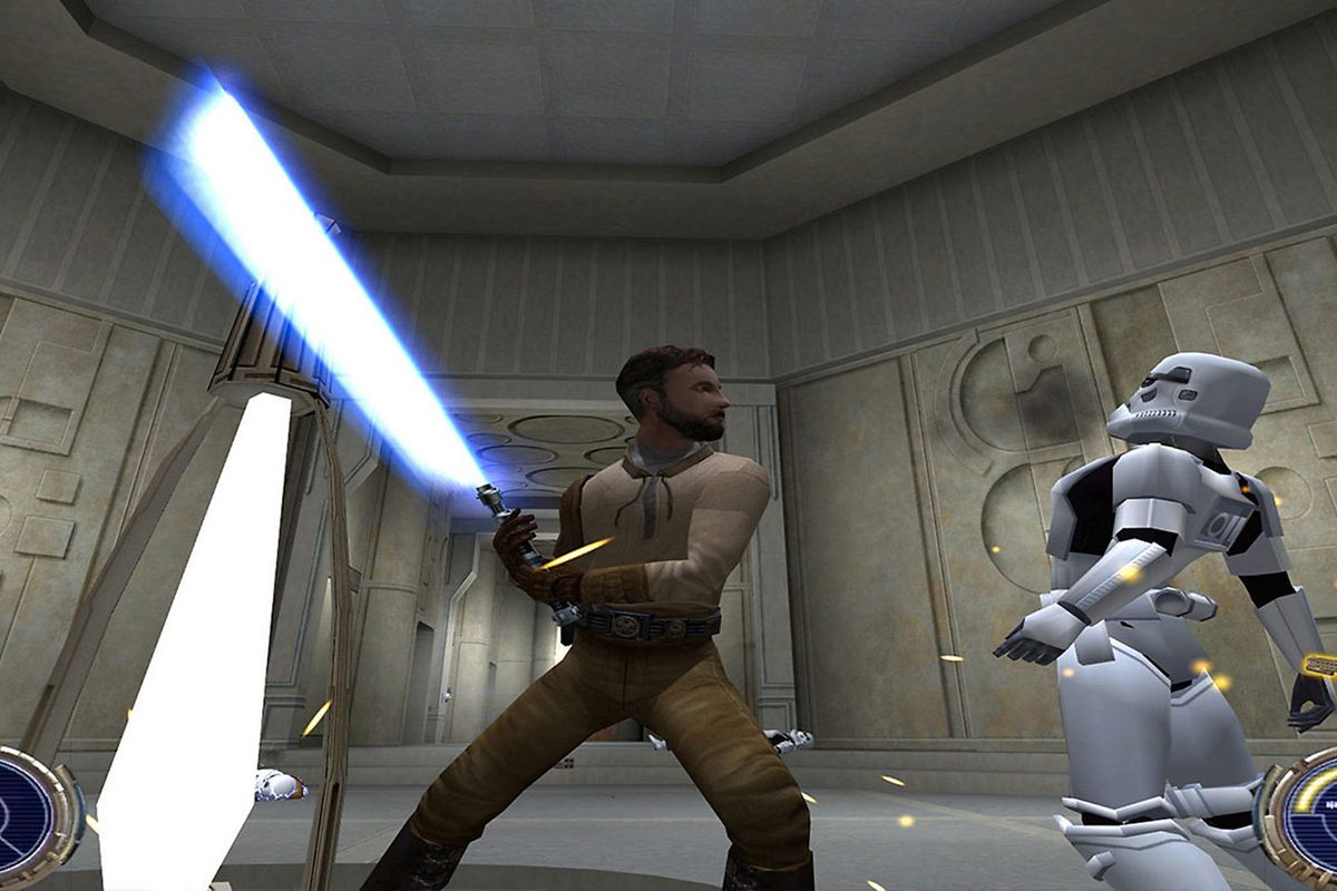 The hero of Jedi Outcast, Kyle Katarn, slashes a Stormtrooper with his lightsaber