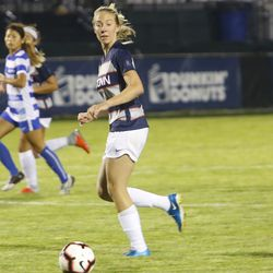 The CCSU Blue Devils take on the UConn Huskies in a women's college soccer game at Morrone Stadium in Storrs, CT on August 23, 2018.