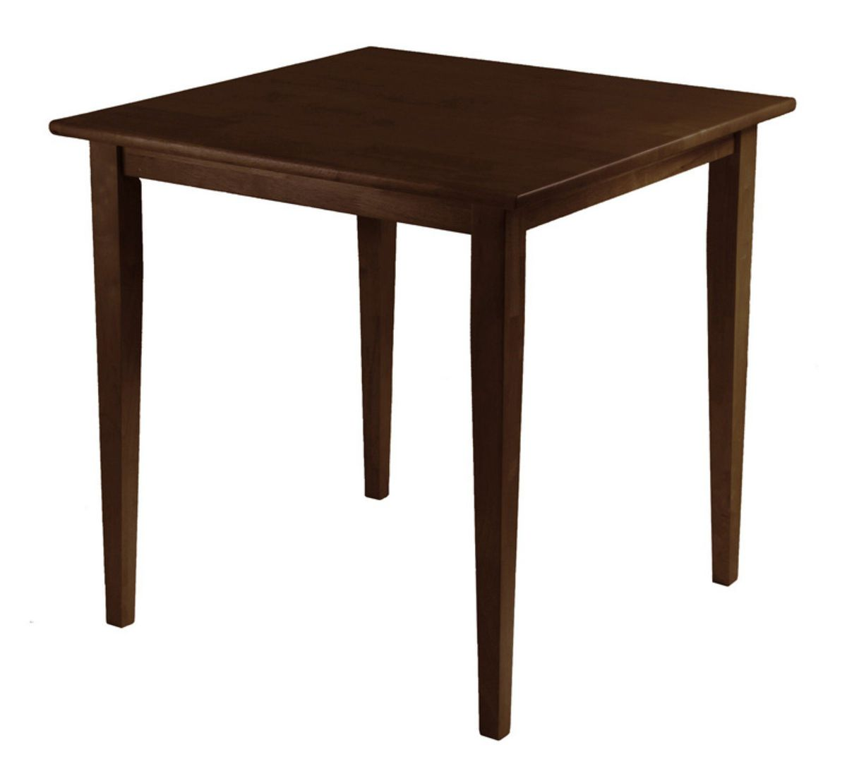 A dark wood square table with four legs.