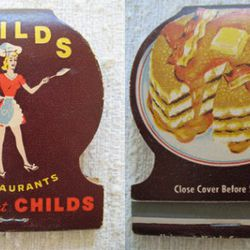 """<b>Childs</b>: A forties-era matchbook from the <a href=""""http://ny.eater.com/archives/2010/12/childs_coney_island.php"""" rel=""""nofollow"""">popular cafeteria chain</a>, front and back.  Most locations had pancake flippers in the front window, to entice diners."""