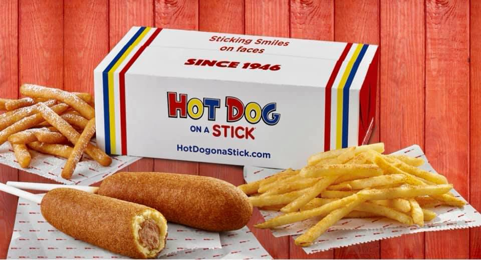 Fries, funnel sticks and the famous dogs, served at the Hot Dog on a Stick kiosk.