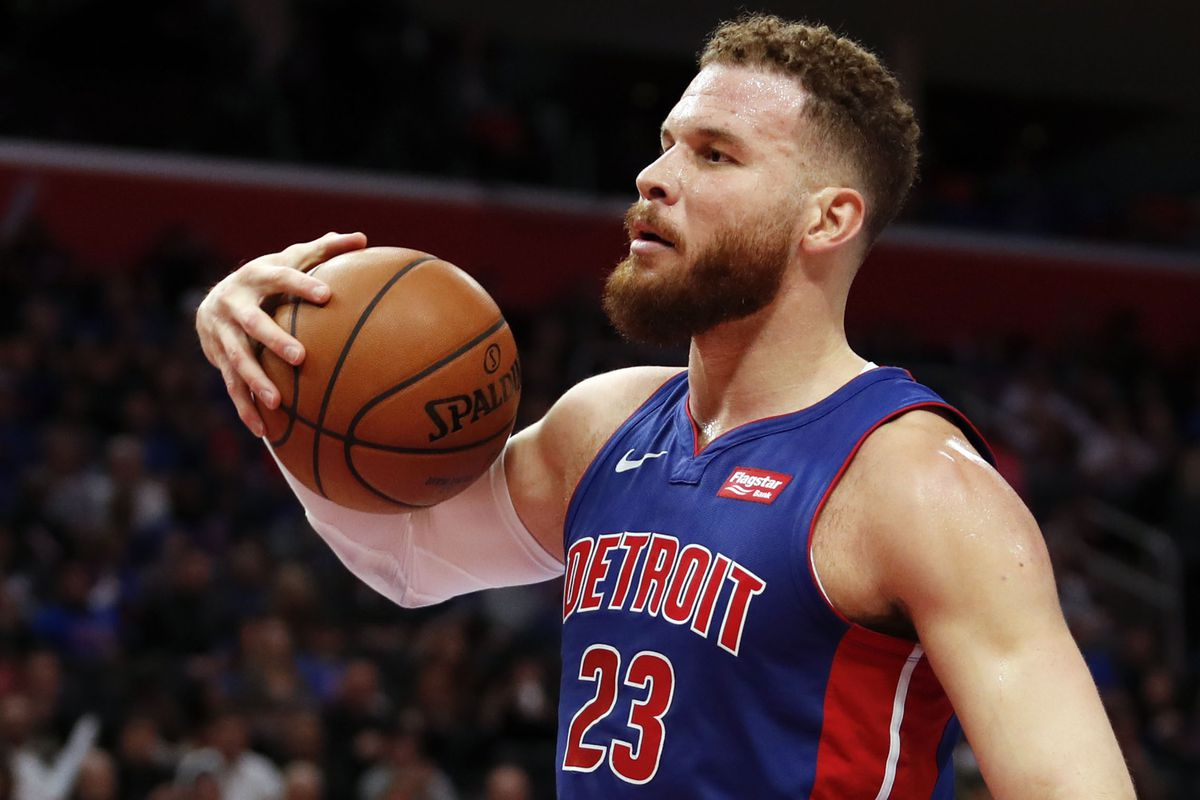 Detroit Pistons forward Blake Griffin reacts after a play during the second quarter against the Milwaukee Bucks at Little Caesars Arena.