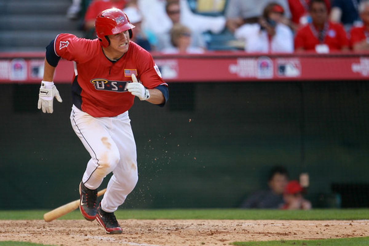 U.S. Futures All-Star Mike Trout of the Los Angeles Angels of Anaheim runs to first during the 2010 XM All-Star Futures Game (Photo by Jeff Gross/Getty Images)