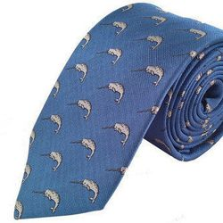 """Narwhal necktie, <a href=""""http://www.bullandmoose.com/products/blue-narwhal-necktie"""">$35</a>"""