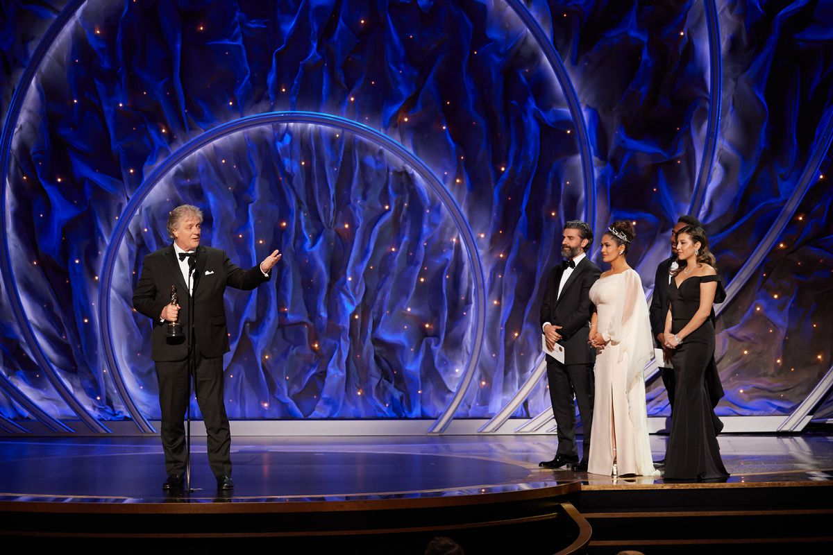 Donald Sylvester accepts the Oscar for sound editing during the live ABC telecast of the 92nd Oscars at the Dolby Theatre in Hollywood, Calif., on Sunday, Feb. 9, 2020.