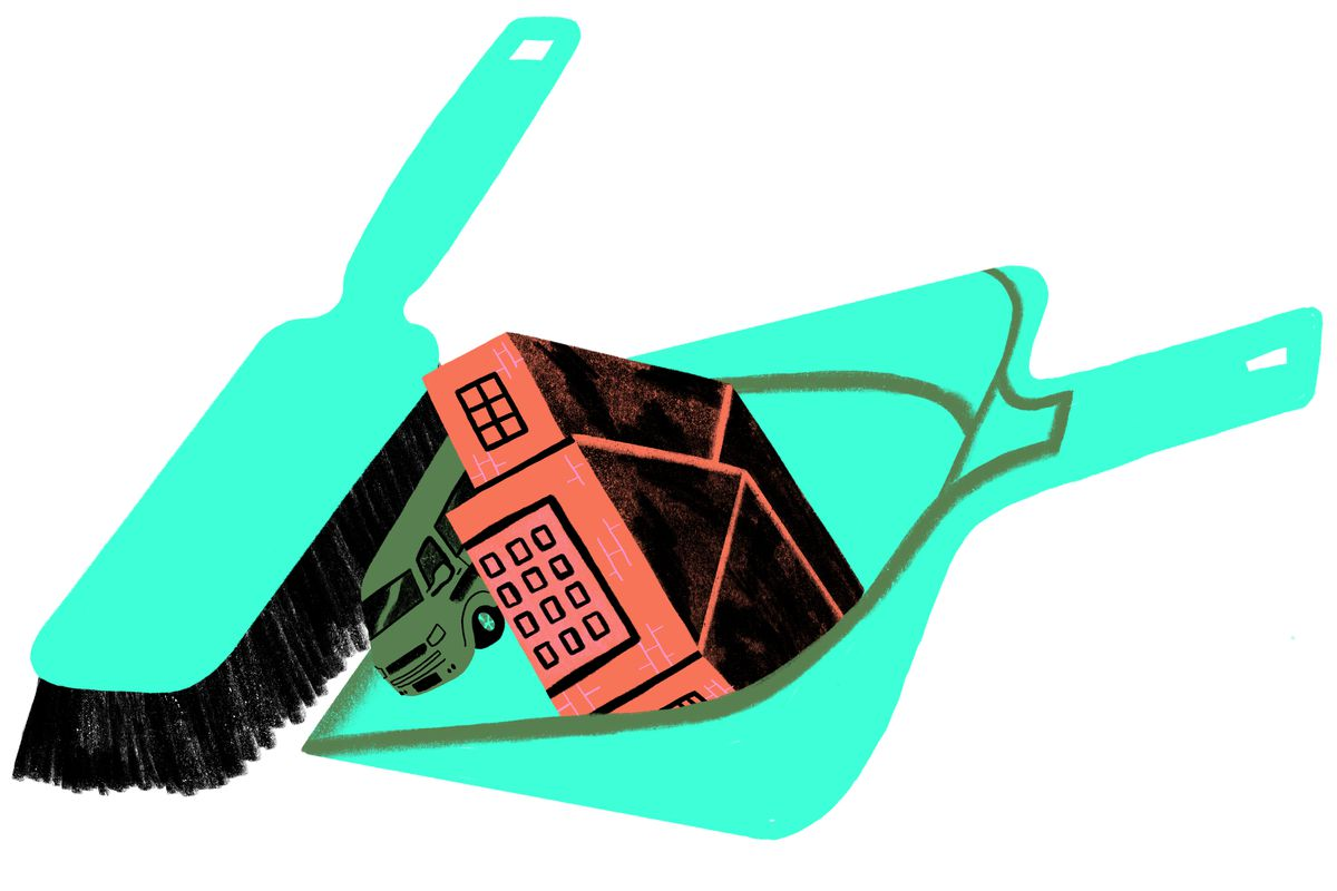 A giant brush sweeping a vehicle and single-story home into an oversized dust pan. Illustration.