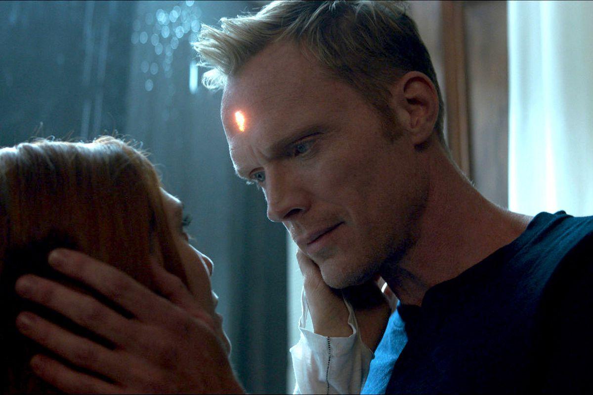 A human vision caresses Wanda's face in Infinity War