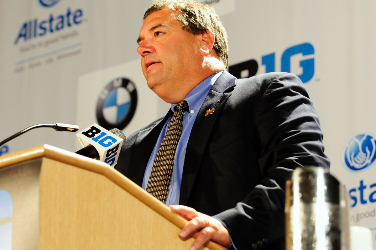 July 26, 2012; Chicago, IL, USA; Michigan Wolverines head coach Brady Hoke speaks during the Big Ten media day at the McCormick Place Convention Center. Mandatory Credit: Reid Compton-US PRESSWIRE