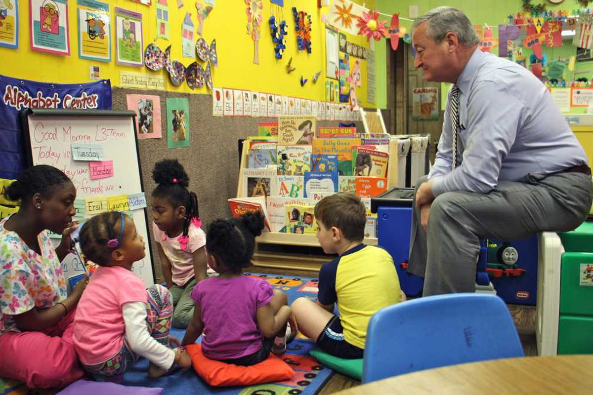Mayor Jim Kenney visits with children at Little Learners Literacy Academy in South Philadelphia.