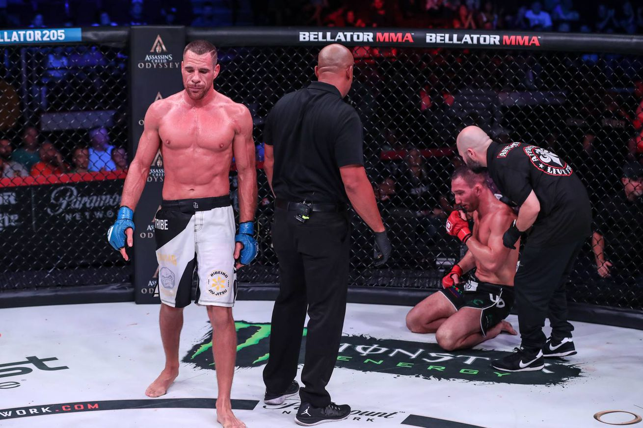 Rafael Lovato Jr. walks off after submitting John Salter at Bellator 205 on Sept. 21 in Boise, Idaho