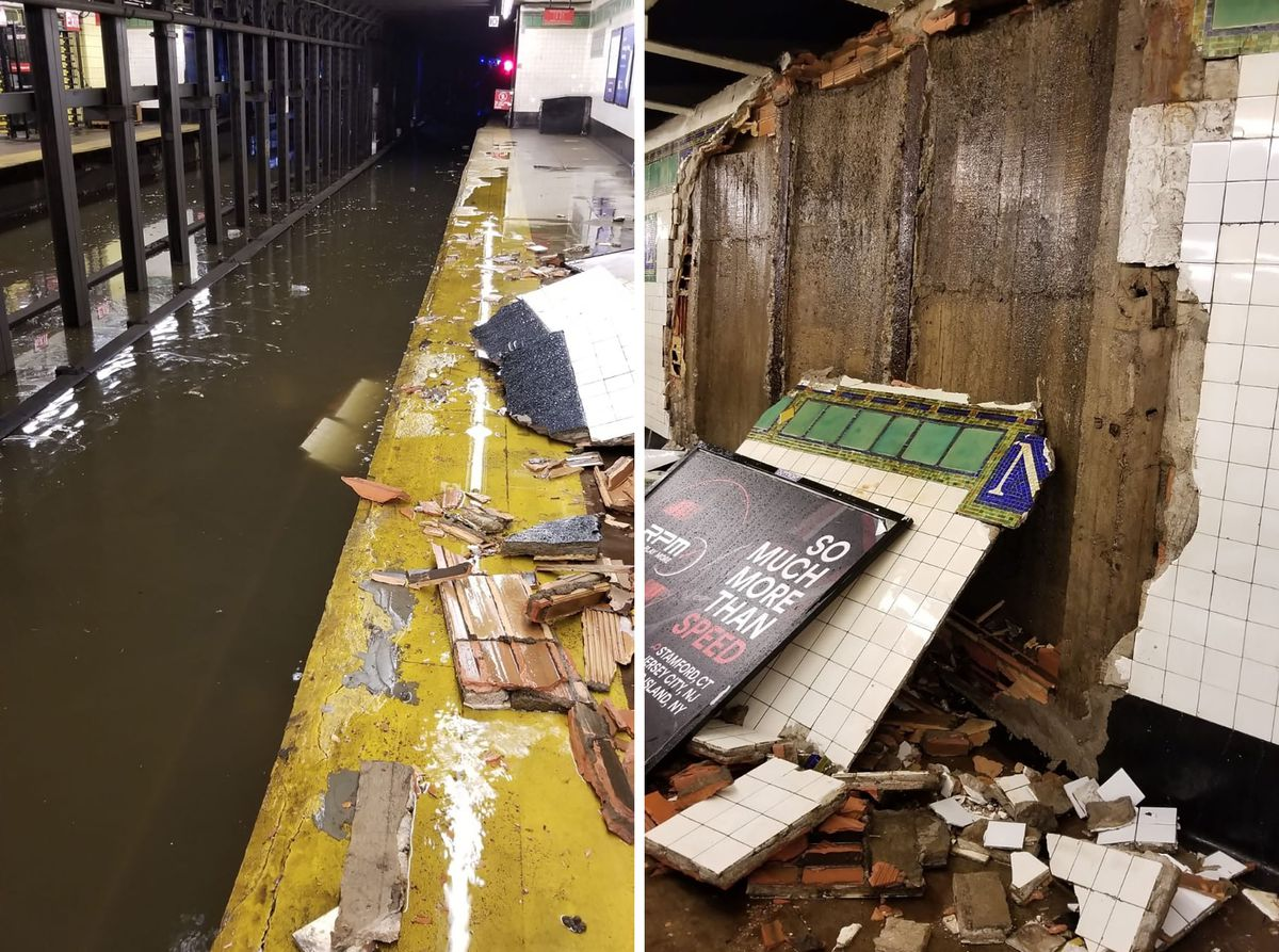 Collapsed wall at Newkirk Avenue station.